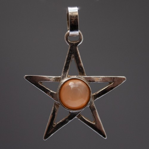 Orange Moonstone Sterling Silver Pentacle Pendant