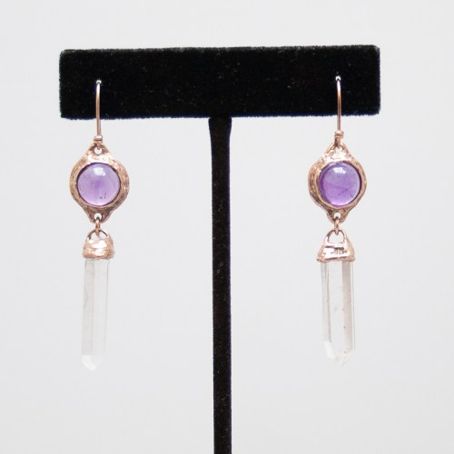 Gold Amethyst Quartz Earrings