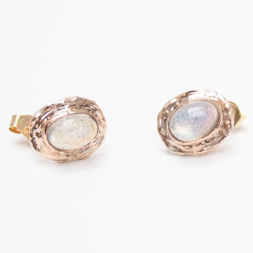 9K Gold Rainbow Moonstone Stud Earrings