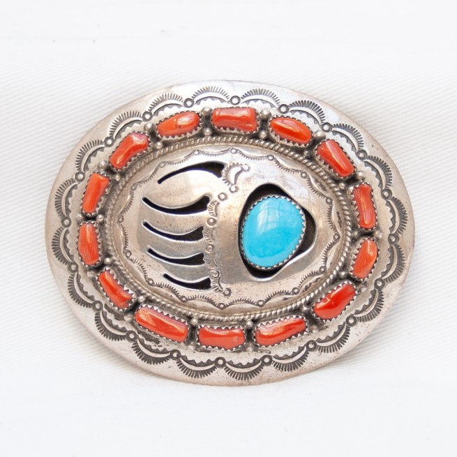 Wilbur Muskett Bear Paw Turquoise Coral Belt Buckle