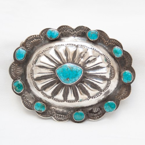 1930's Vintage Raw Turquoise Sterling Silver Belt Buckle