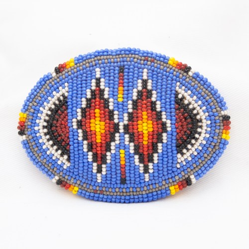 Blue Beaded Belt Buckle