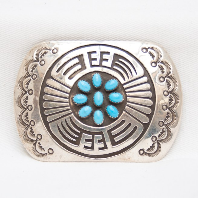 Rosco Scott Sterling Silver Turquoise Belt Buckle