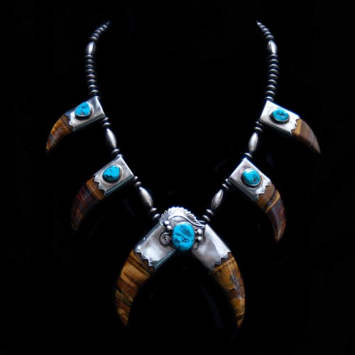 Tiger's Eye Claw Turquoise Necklace