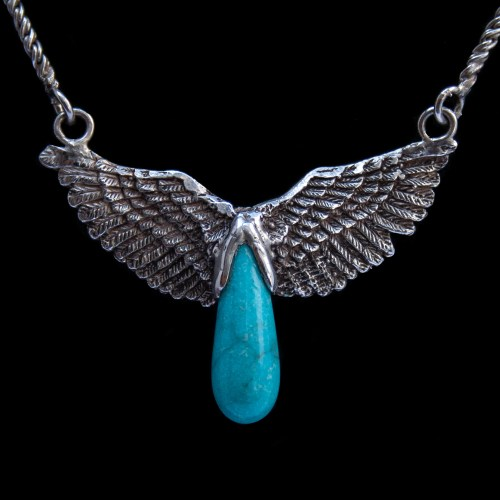 Turquoise Teardrop Silver Angel Necklace