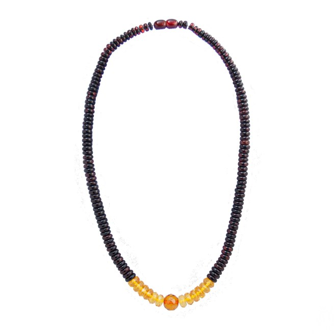 Yellow Red Amber Beaded Necklace