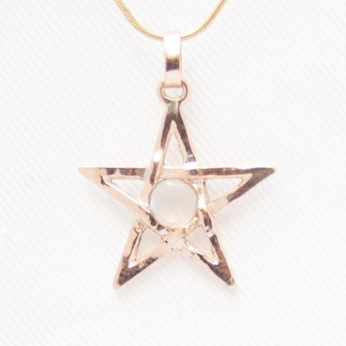 Gold Pentacle Moonstone Pendant