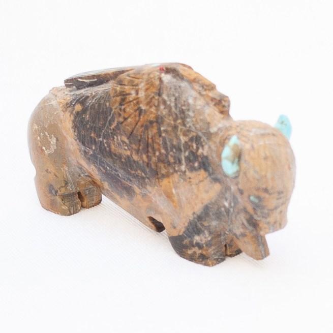 Sculpture Amérindienne Bison Brun