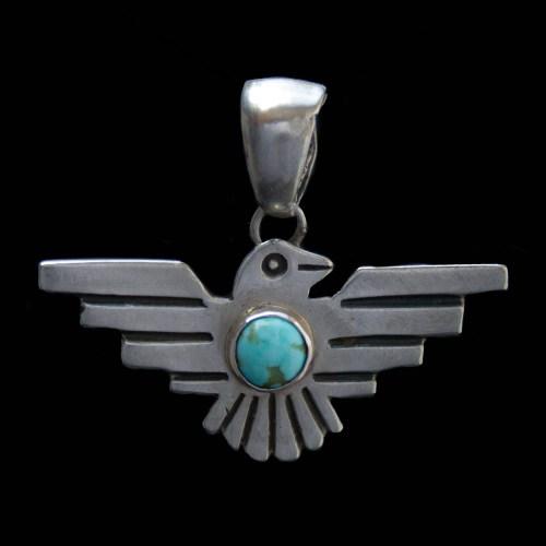 Silver Turquoise Eagle Pendant