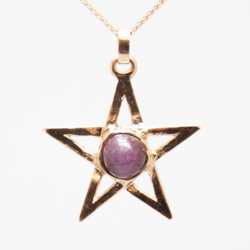 Gold Ruby Pentacle Pendant