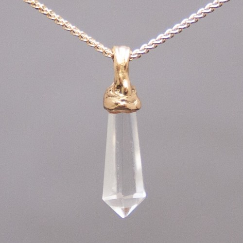 Gold Clear Quartz Pendant