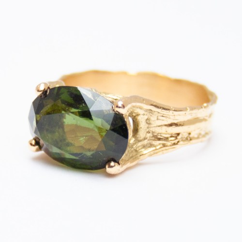 Gold Moldavite Ring