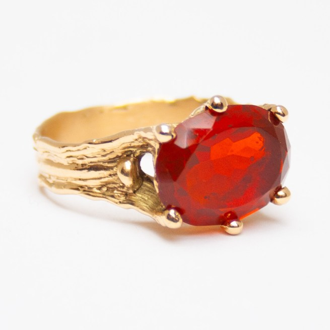 Gold Mexican Fire Opal Ring