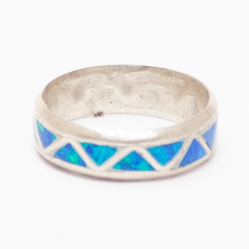 Blue Opal Zigzag Ring