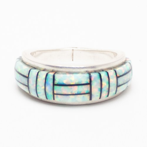 Opal Jet Inlay Ring