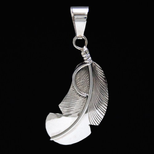 Chris Charley Curved Silver Feather Pendant