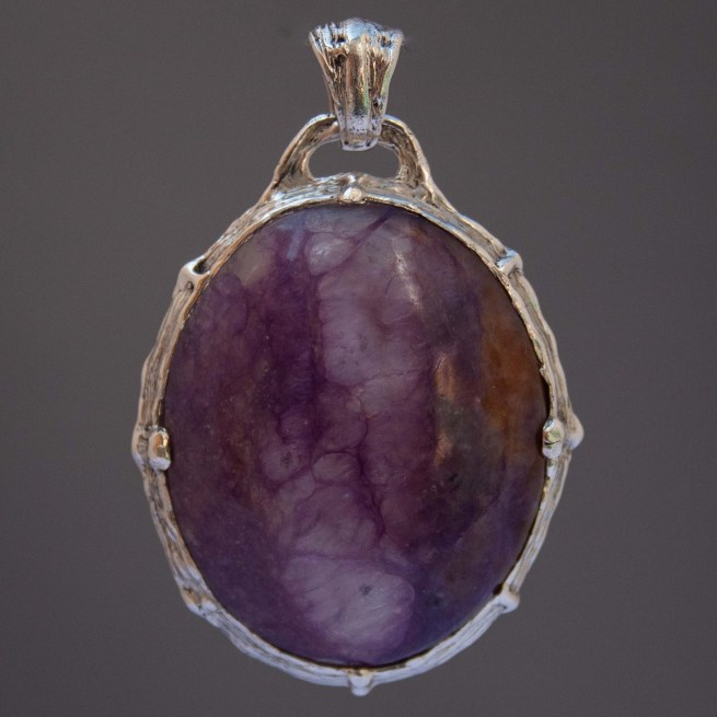 Gem Quality Charoite Sterling Silver Pendant