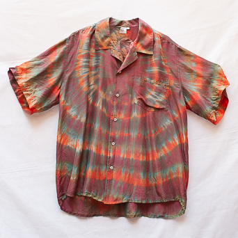 Brown Orange Silk Shirt L