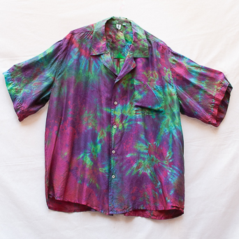 Green Purple Silk Shirt XL