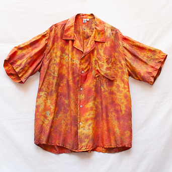 Copper Orange Silk Shirt XL