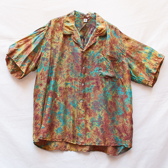 Green Brown Silk Shirt XL