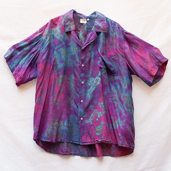 Purple Tie-Dye Silk Shirt 2XL