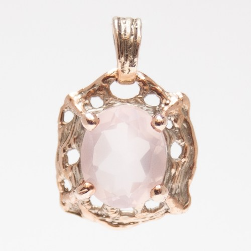 9K Gold Faceted Rose Quartz Pendant