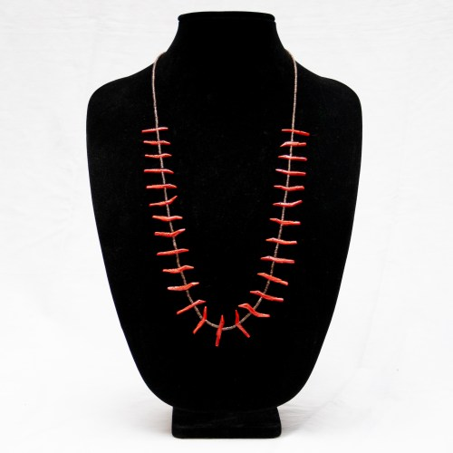 Bryant Waatsa Jr. Red Coral Bird Necklace