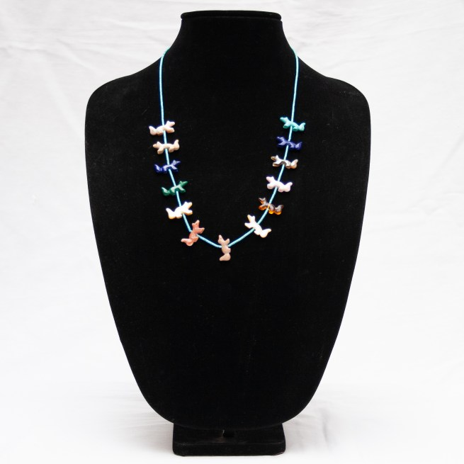 Multicolour Wolf Zuni Animal Necklace