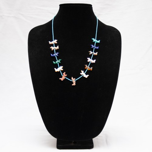 Multicolour Wolf Zuni Animal Necklace