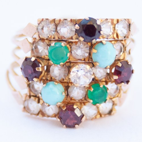 18K Gold 1960's Vintage Multicolour Harem Ring