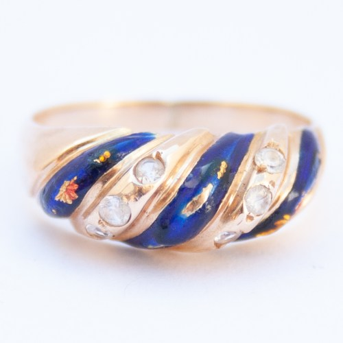 14K Gold 1960's Vintage Quartz Enamel Ring