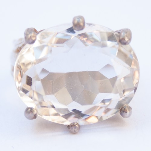 Faceted Clear Quartz Sterling Silver Ring