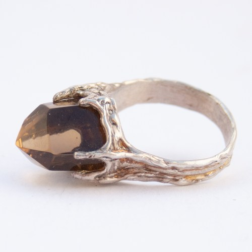 Sterling Silver Smoky Citrine Point Ring