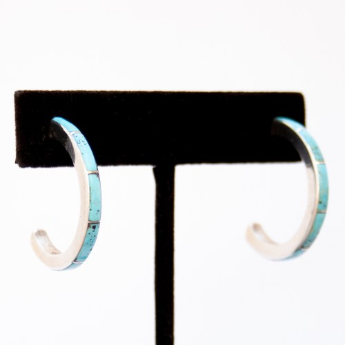 Zuni Medium Smooth Thick Turquoise Hoop Earrings