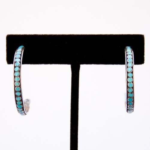 Zuni Snake Eyes Turquoise Hoop Earrings