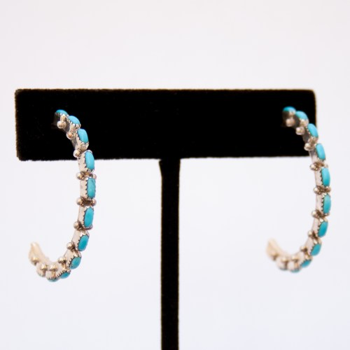 Native American Medium Turquoise Half Hoops