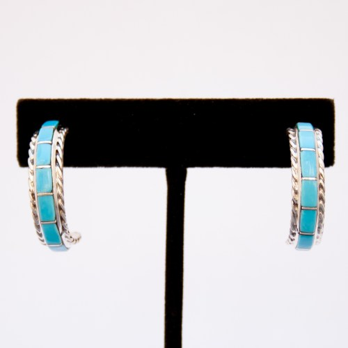 Mary Chavez Medium Turquoise Hoop Earrings