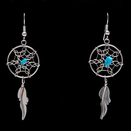 Medium Turquoise Dream Catcher Drop Earrings