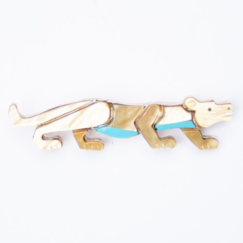 Stephen Lonjose Pearl Jaguar Pin Brooch