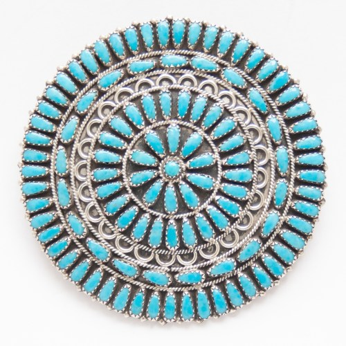 Zeita Begay Large Turquoise Pin Brooch Pendant