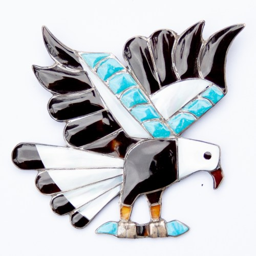 Native American Zuni Eagle Pin Brooch