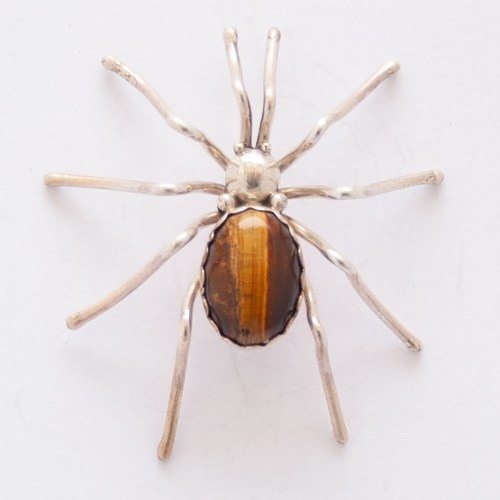 Evelyn Spenser Tigers Eye Spider Pin Brooch
