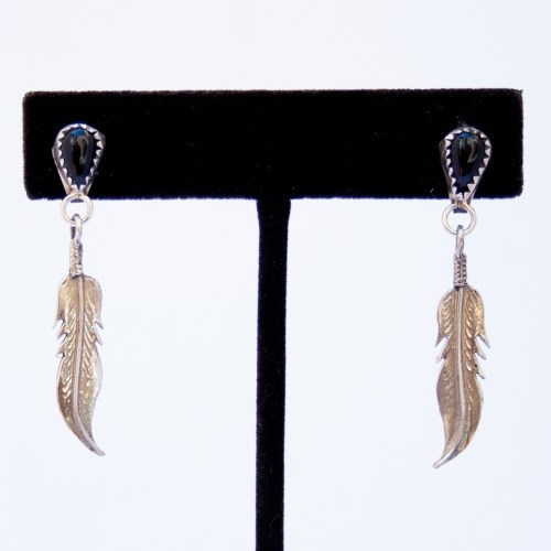 Native American Jet Single Silver Feather Drop Earrings
