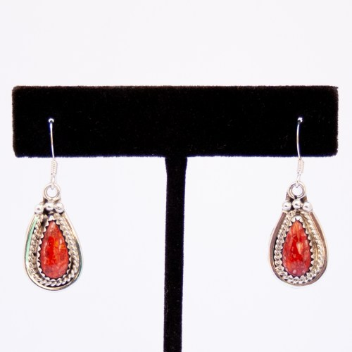 Native American Red Spondylus Teardop Earrings