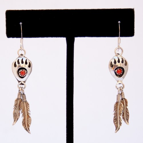 Red Coral Bear Paw Drop Hook Earrings