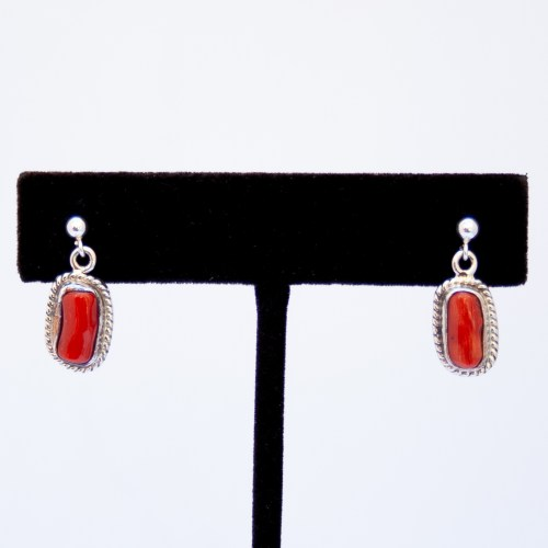Wilie Secatero Red Coral Drop Earrings