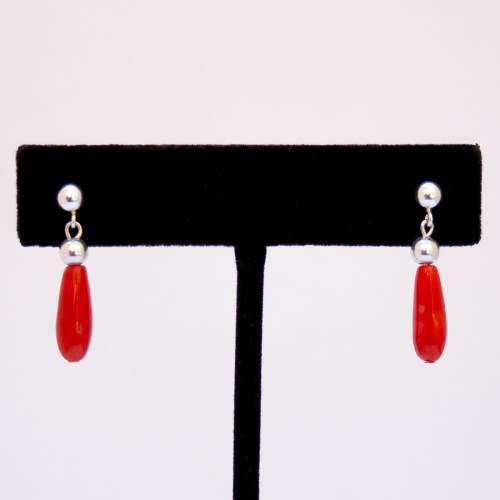Native American Red Coral Teardrop Earrings