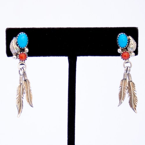 Native American Turquoise Coral Feather Drop Earrings