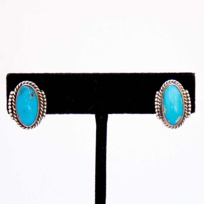 Zuni Medium Oval Turquoise Stud Earrings